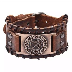 Viking Brown Leather Bracelet Copper Norse Compass
